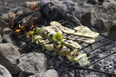 Vegetarian specialty. Fire with delicious skewers with vegetables royalty free stock photos