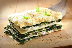 Vegetarian spinach lasagne Royalty Free Stock Photography