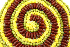 Vegetarian spiral. Front view at spiral made from corn, pie and beans Royalty Free Stock Photo