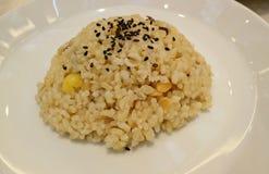 Vegetarian stekte ris på en vit platta Arkivfoton