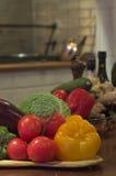 Vegetarian still. Multiple vegetables lying table top. Harvest time stock photo
