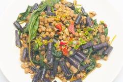 Vegetarian Stir basil in dish close up Royalty Free Stock Image
