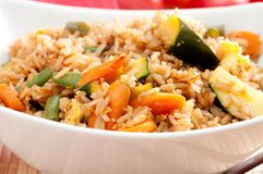 Vegetarian stir fry. Stir fry vegetarian vegetables with brown rice and asian sauces Royalty Free Stock Image