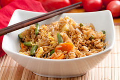 Vegetarian stir fry. Stir fry vegetarian vegetables with brown rice and asian sauces Royalty Free Stock Photography