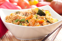 Vegetarian stir fry. Stir fry vegetarian vegetables with brown rice and asian sauces Stock Images