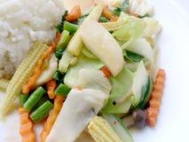 Vegetarian Stir Fry With Tofu & Thai Jasmine Rice On White Dish, Vegetarian Food, Healthy Food Royalty Free Stock Image