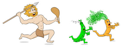 Vegetarian stone age man hunts vegetables. Vector illustration of a vegetarian stone age man hunts vegetables Stock Photo