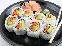 Vegetarian Sushi. With Ginger and Wasabi Stock Photos