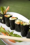 Vegetarian sushi. Roll on plate Royalty Free Stock Images