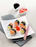 Vegetarian sushi. With cucumber carrots and radishes Stock Images