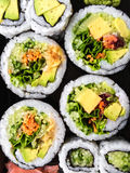 Vegetarian sushi on dark background Stock Photos