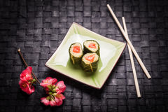 Vegetarian sushi with flowers Stock Photo