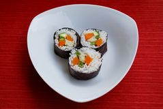 Vegetarian sushi maki rolls Royalty Free Stock Images