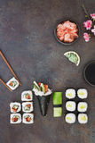 Vegetarian sushi platter. Sushi platter with wasabi, pickled ginger and soy sauce. Top view, blank space Royalty Free Stock Images