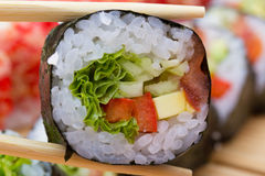 Vegetarian sushi roll Stock Image