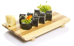 Vegetarian sushi roll isolated Royalty Free Stock Photos