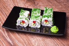 Vegetarian sushi roll Stock Photo