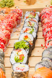 Vegetarian sushi roll with sushi made dish Stock Image