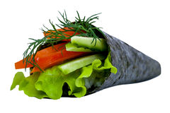 Vegetarian Sushi roll with tuna, rice and cucumber isolated on w Royalty Free Stock Image