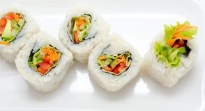 Vegetarian sushi rolls Stock Photos