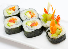 Vegetarian sushi rolls stock photo