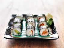 Vegetarian sushi rolls Stock Photos