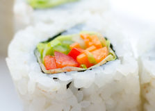 Vegetarian sushi rolls, macro Royalty Free Stock Photography