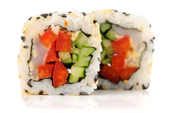 Vegetarian sushi rolls with tuna and fresh vegetables Stock Photography