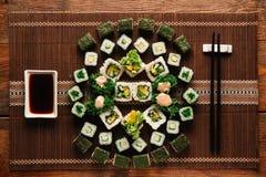 Vegetarian sushi set. Japanese cuisine, food art. Royalty Free Stock Image