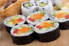 Vegetarian sushi. Variety on table Royalty Free Stock Photo