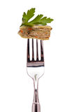 Vegetarian swabian pocket on a fork Stock Image