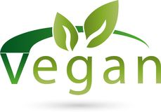 Vegetarian symbol with leaves, vegan and nature logo Stock Image