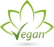 Vegetarian symbol with leaves, vegan and nature logo Stock Photos