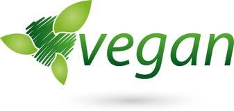 Vegetarian symbol with leaves, vegan and nature logo Stock Photo