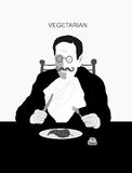 Vegetarian. The symbolic image of a man who eats only plant foods Royalty Free Stock Image