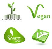 Vegetarian symbols. Green vegetarian symbols leaves buttons Stock Photos