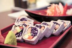 Vegetarian taro sushi. Bangkok, Thailand - Mar 19, 2012 : Vegetarian sushi wrap by taro Stock Images