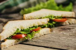 Vegetarian tasty sandwich on wooden table Stock Photos