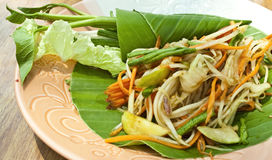 Vegetarian thai food : vegetarian papaya salad. Thai vegetarian papaya and carrot salad-a famous spicy thai food Stock Photos