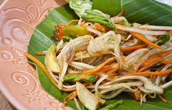 Vegetarian thai food : vegetarian papaya salad. Thai vegetarian green papaya and carrot salad Royalty Free Stock Image