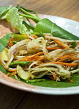 Vegetarian thai food : vegetarian papaya salad. Thai vegetarian green papaya salad and carrot Royalty Free Stock Photo