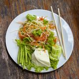 Vegetarian Thai papaya salad also known as Som Tam from Thailand. Close up stock photo