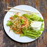 Vegetarian Thai papaya salad also known as Som Tam from Thailand. Close up royalty free stock photos