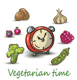 Vegetarian time on white background. vector illustration. Royalty Free Stock Photos