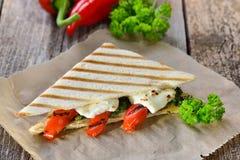 Vegetarian toast with feta cheese Royalty Free Stock Photos