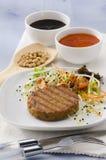 Vegetarian tofu burger. Royalty Free Stock Images