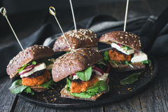 Vegetarian Tofu Carrot Burger Sliders Stock Photo