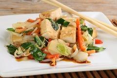 Vegetarian tofu. And mixed vegetable stir fry Stock Photos