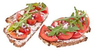 Vegetarian tomato bread isolated on white Stock Photo
