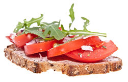 Vegetarian tomato bread isolated on white Stock Images